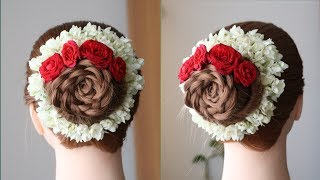 latest juda with trick and real flowers || Hairstyle for wedding guest || updo // Neisha's Hairstyle