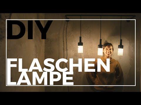 Stylische Lampe aus Rohren und Flaschen | DIY | Upcycling mit Bree Weinflaschen