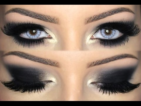 black smokey eye make up tutorial english youtube. Black Bedroom Furniture Sets. Home Design Ideas