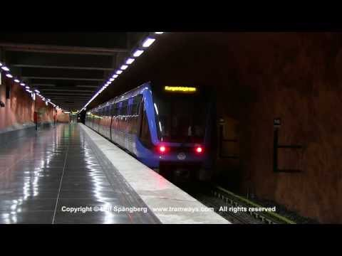 SL Tunnelbana tag Metro trains at Rinkeby station Stockholm Sweden