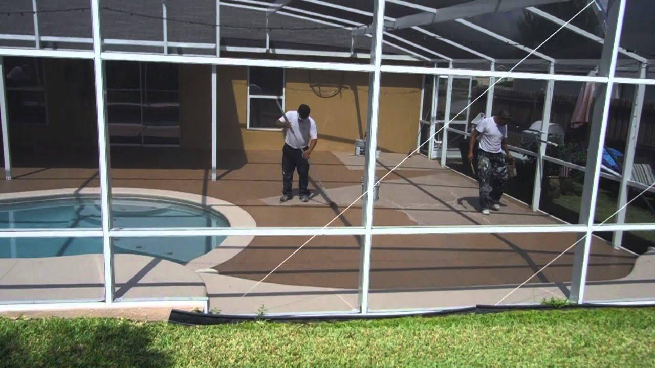 pool deck painting in winter garden youtube