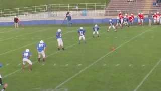 Levi Peck 8th grade football. Big hit