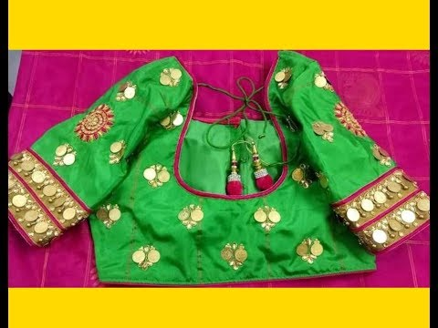 Aari / Maggam Work Coin /Kasu Design With Normal Stitching Needle On Blouses / Sari/ Dresses