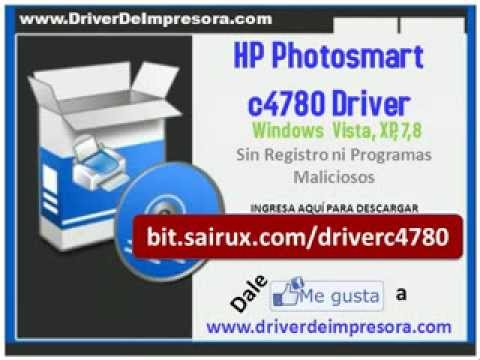 Descargar HP Photosmart c4780 Driver Windows 8 7 Vista XP