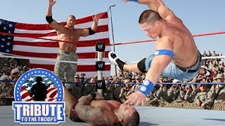 John Cena, Batista & Rey Mysterio vs. Randy Orton & Jeri-Show: Tribute to the Troops, Dec. 20, 2008(WWE travels to Iraq to and puts on a show for the troops with a mega main event. John Cena, Batista & Rey Mysterio clash with Randy Orton, Chris Jericho & Big ..., 2013-12-20T05:00:02.000Z)