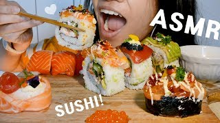 ASMR SUSHI (Salmon Nigiri, Sushi rolls and more!) - SOFT EATING SOUNDS