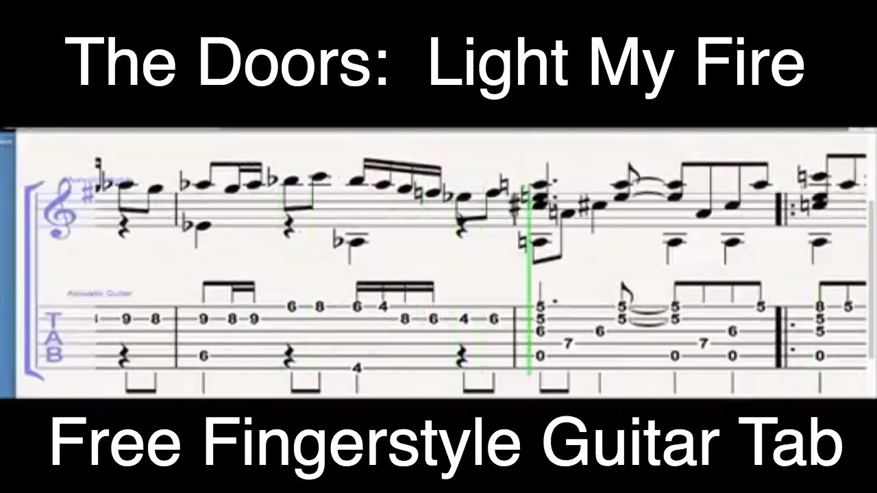 Free Tab Light My Fire Acoustic Fingerstyle Guitar Youtube