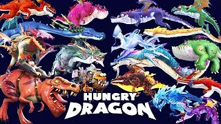 ALL MAX LEVEL DRAGONS UNLOCKED (TREX)!!! (HUNGRY DRAGON)