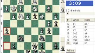 Chess World.net:  Blitz #325 vs. IM Shatar (2100) - Queen's pawn game, Chigorin variation (A04)
