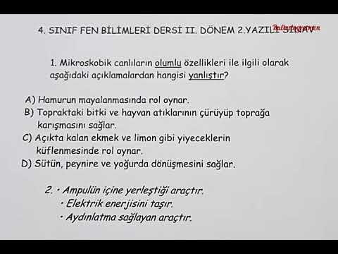 4.sınıf Fen Bilimleri 2.dönem 2.yazılı (Örnek 3)