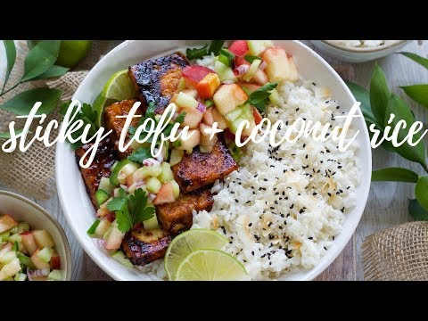STICKY CHILI LIME TOFU WITH COCONUT RICE | PLANTIFULLY BASED