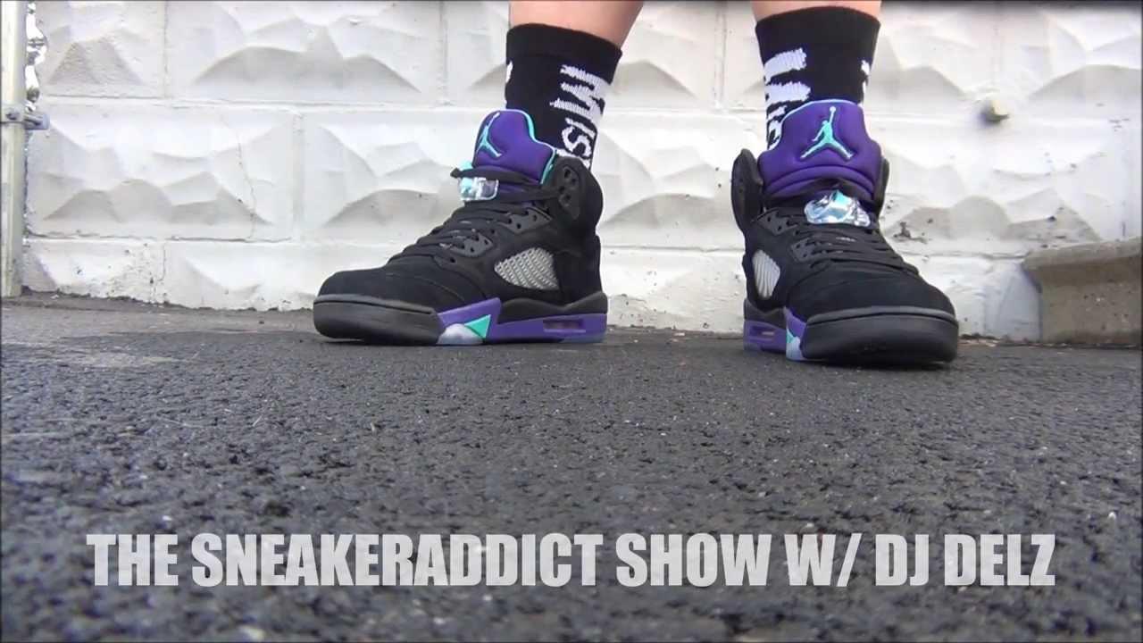 Air Jordan Black Grape 5 Aqua V Shoe HD Review + On Feet W ...Jordan Grape 5 Black On Feet