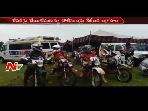 TS Minister KTR warns Police Officer Over Manhandling Bike Racers || NTV