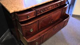 Antique Louis Xvi Inlaid Walnut And Rosewood Marble Top Commode