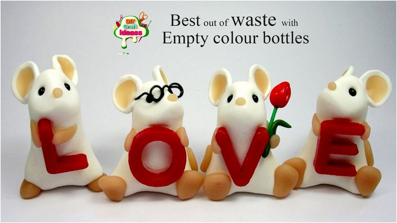 Best out of waste bottle  rats love craft idea with empty color bottles   Arush diy craft ideas