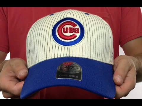 Cubs  HOME-RUN PINSTRIPE STRAPBACK  Hat by Twins 47 Brand - YouTube 7bce02c6814