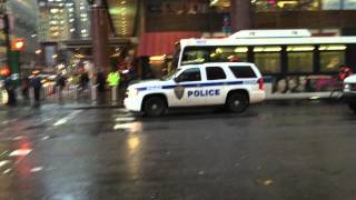 NY & NJ PORT AUTHORITY POLICE UNIT CRUISING BY ON W. 42ND ST. IN TIMES SQUARE, MANHATTAN, NEW YORK.
