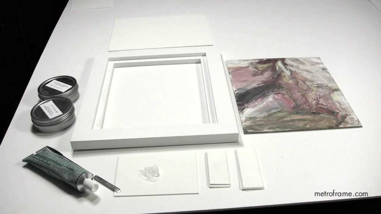 How to attach paintings on panels to wood floater frames - YouTube