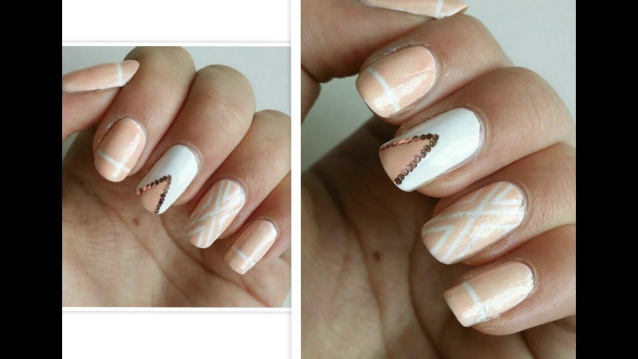 Beige Nail Art ! - YouTube