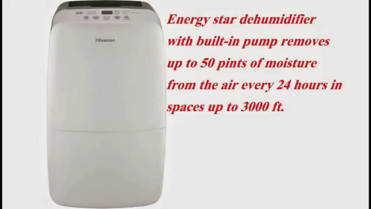 Hisense DH-50KP1SDLE Energy Star 50-Pint 2-Speed Dehumidifier Complete  Review