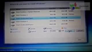 Pembuatan partisi Windows (menambah dan mengubah)