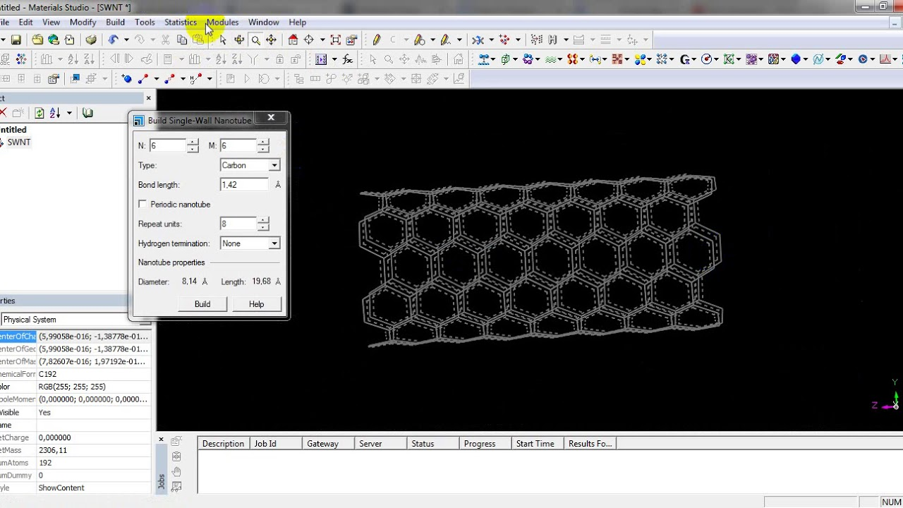 build single walled carbon nanotubes ' SWNT ' in material studio package
