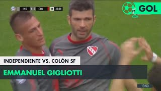 Emmanuel Gigliotti (1-0) Independiente vs Colón SF | Fecha 5 - Superliga Argentina 2018/2019