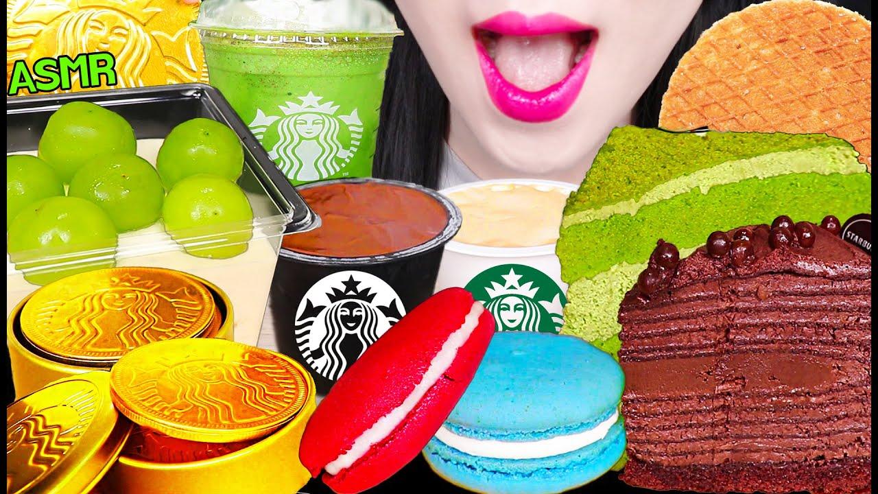 ASMR STARBUCKS CHOCOLATE PUDDING, GREEN TEA FRAPPUCCINO, CARAMEL WAFFLE 스타벅스 푸딩, 와플 먹방 EATING SOUNDS