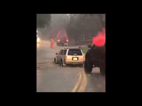 Driving Through Flooded Road in Temecula California During February 2019 Rain Storm