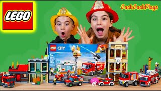 Pretend Play Firefighters with Lego City Burger Bar Fire Rescue | JackJackPlays
