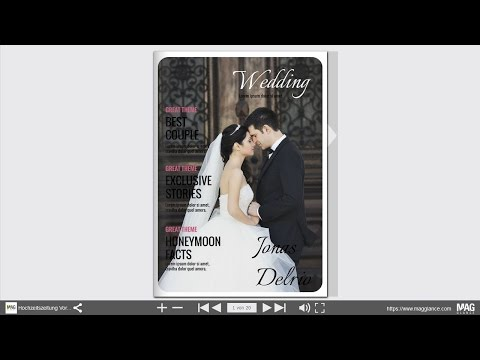 Blätterbare Vorlage für eine Hochzeitszeitung zum selber machen und drucken - Beispiel 1
