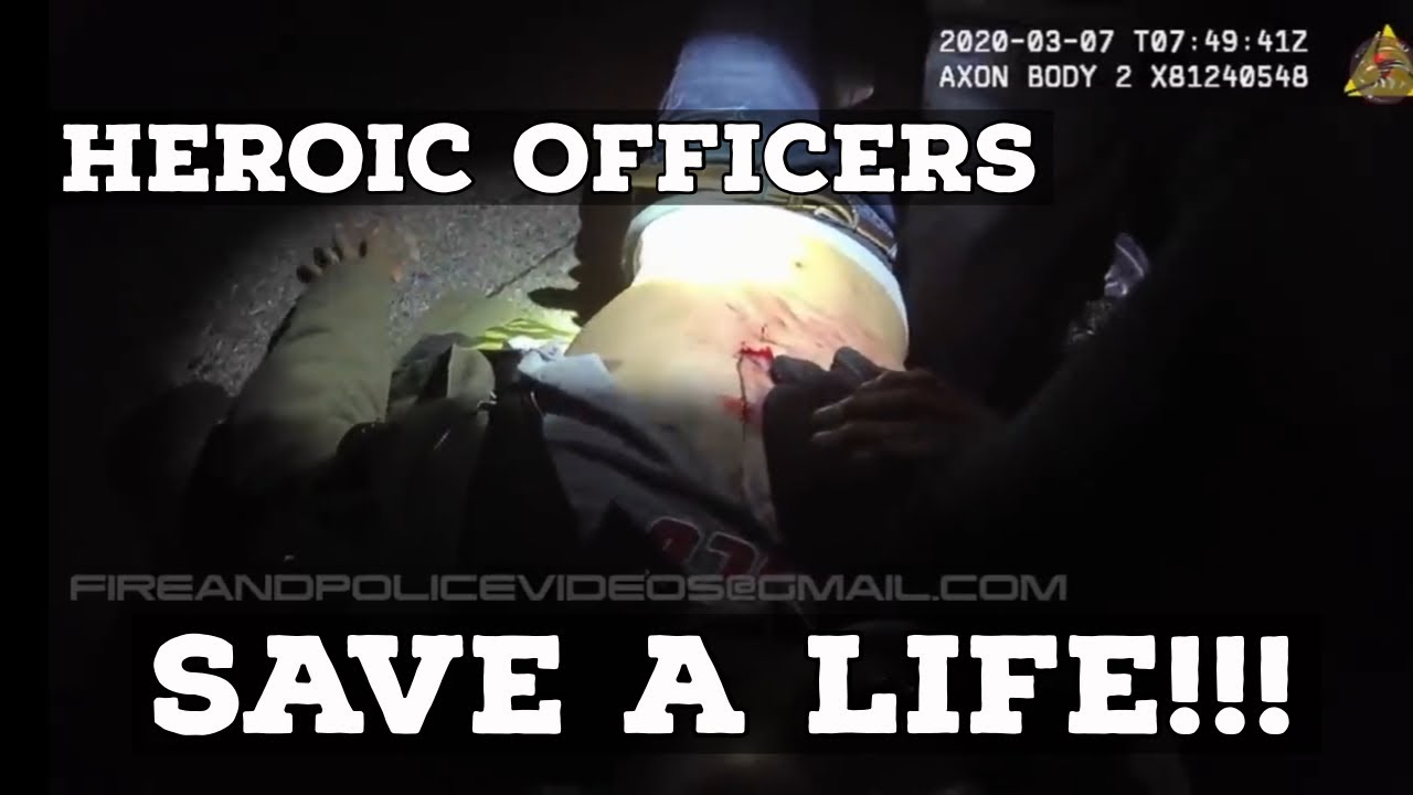 Quick responding Heroic Officers save life of shooting victim on lapel video