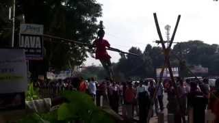 A little girl dancing on the rope