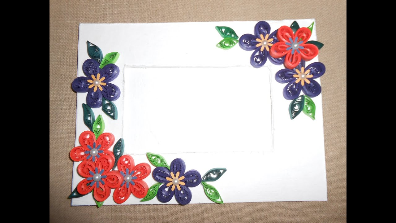 How to make beautiful quilling photo frame youtube for How to make a paper design