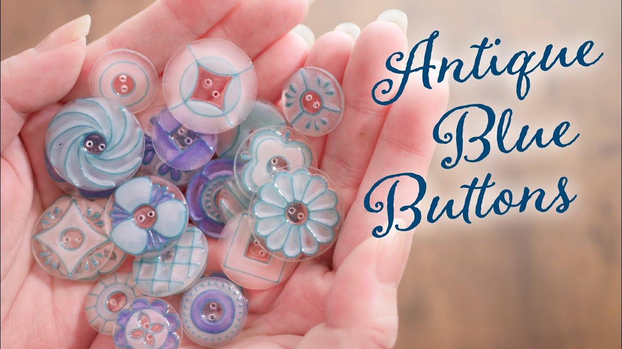 【プラバン×ペーストクレイ】アンティークな青いボタン DIY Antique blue buttons [ときどきASMR]