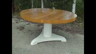 Vintage Painted Shabby Chic Circular Dining Table In Farrow And Ball