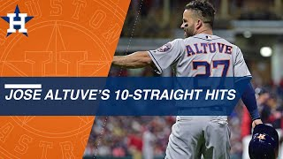 Jose Altuve sets Astros' record with 10 straight hits