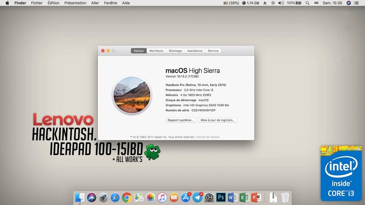 FIXED : LENOVO IDEAPAD 100 - Hackintosh macOs High Sierra 10 13 2 (ALL  WORKS) ✅