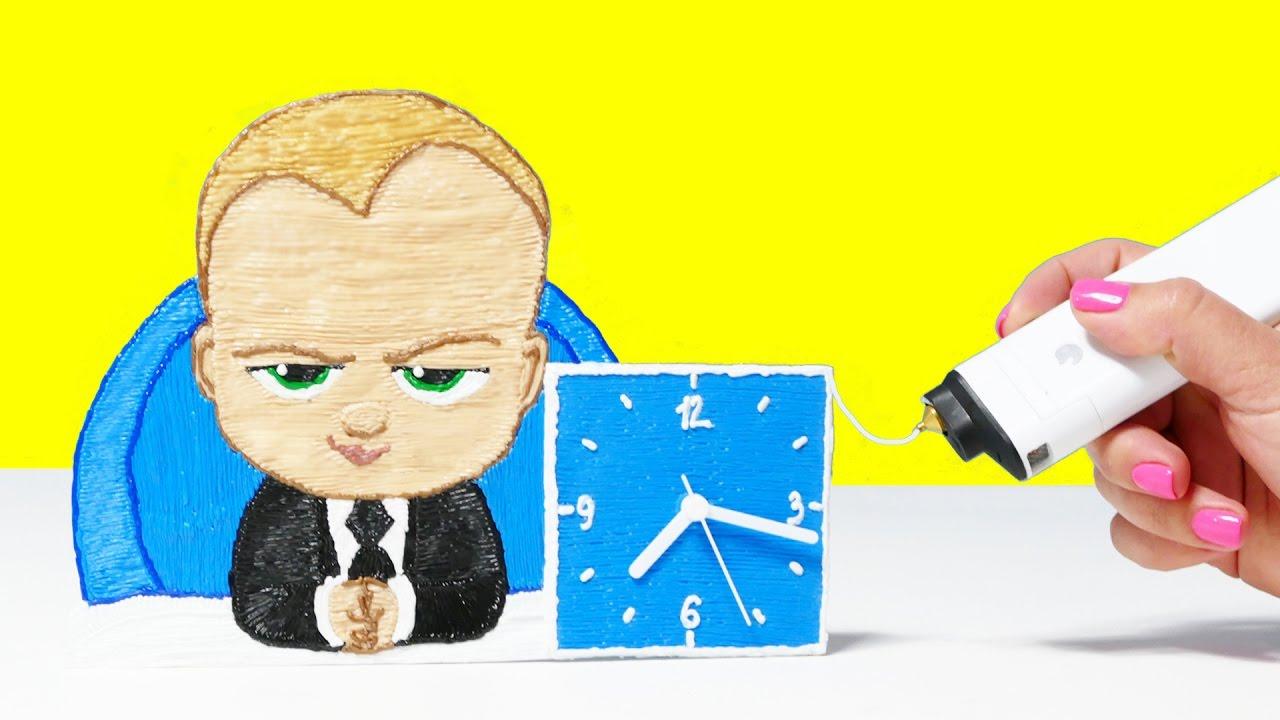 3D РУЧКА БОСС МОЛОКОСОС ЧАСЫ СВОИМИ РУКАМИ | РИСУЮ 3D РУЧКОЙ | 3D SIMO MINI DIY THE BOSS BABY