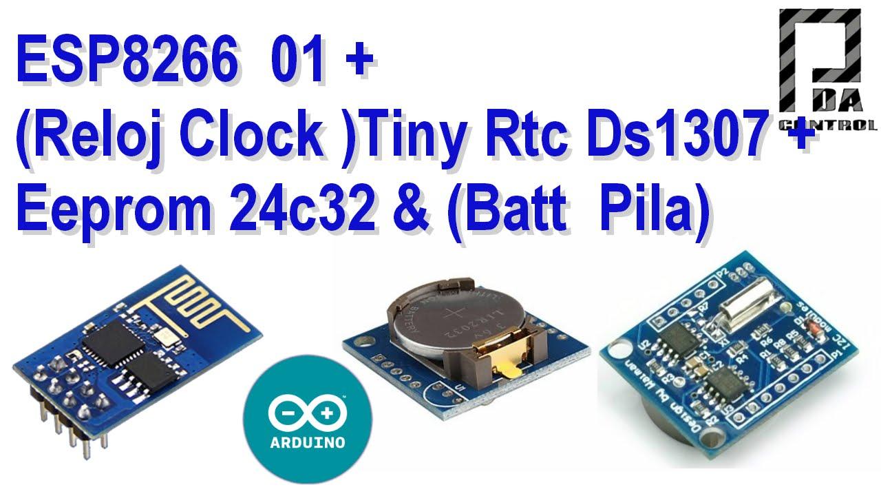 ESP8266 01 + Clock Tiny RTC Ds1307 + Memory Eeprom 24c32 : 3 Steps