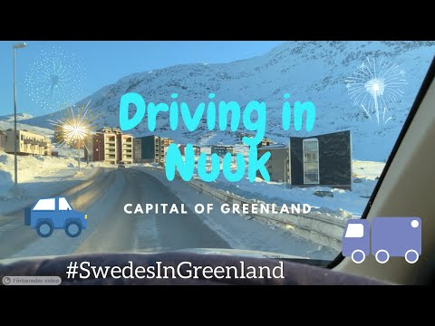 Winter! Driving through Nuuk Greenland, starting downtown and arriving in Qinngorput