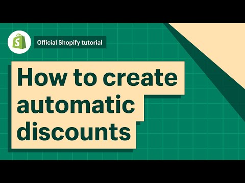 How To Create Automatic Discounts || Shopify Help Center 2019