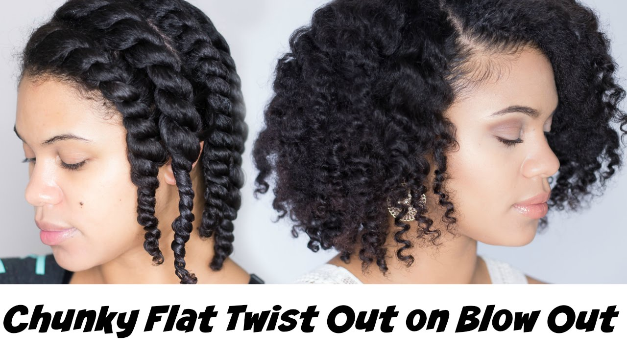 how to: chunky flat twist out on blown out natural hair
