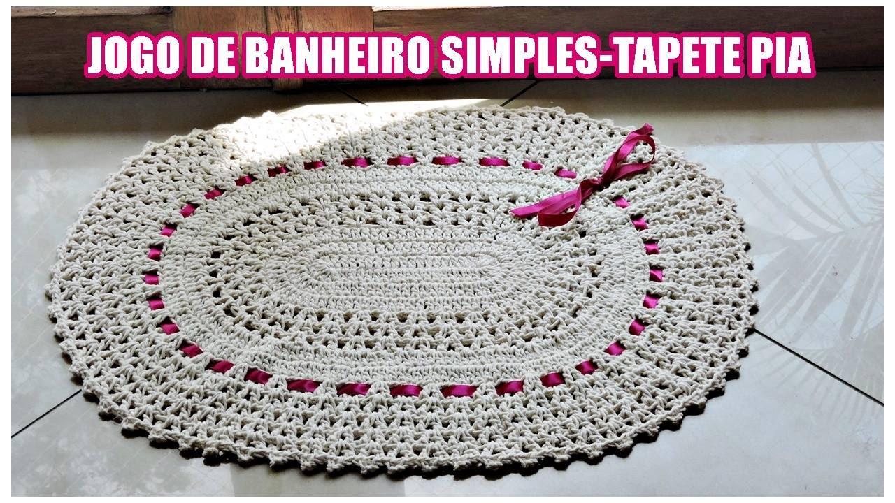 JOGO DE BANHEIRO SIMPLES TAPETE PIA DIANE GONÇALVES  YouTube -> Tapete Para Banheiro Croche Simples