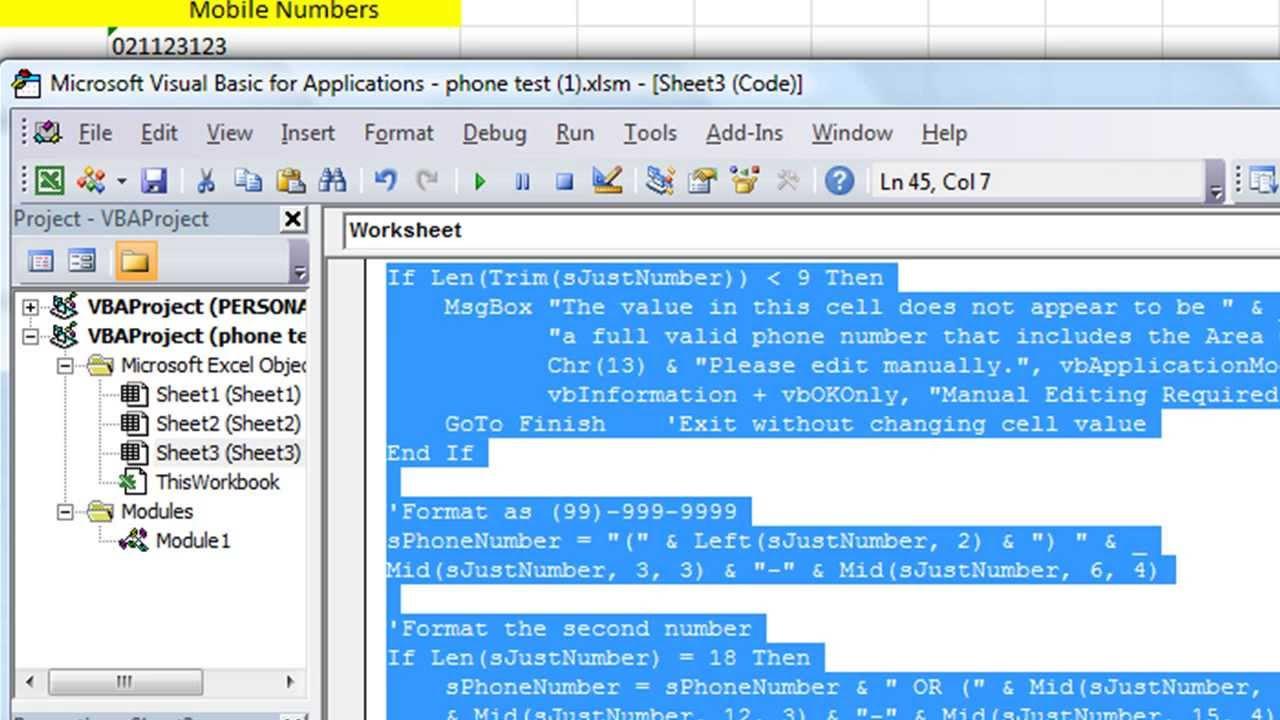 Format Phone Numbers in Excel VBA - Different Macro per Column