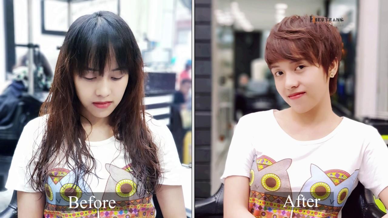 HIẾU TRANG hair salon, Hướng dẫn Cắt + Uốn tóc ngắn – pixe layer