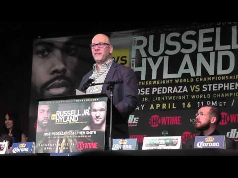 GARY RUSSELL VS PATRICK HYLAND FINAL PRESS CONFERENCE; EMOTIONAL LOU DIBELLA SPEECH - EsNews Boxing