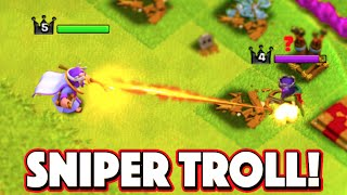 Clash of Clans - GRAND WARDEN SNIPER TROLL! CoC Funny Moments and Trolling!