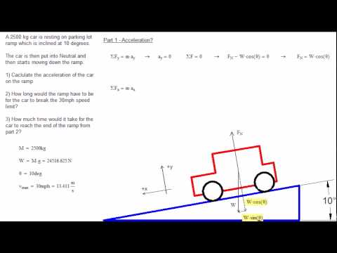 Acceleration Of A Car On An Inclined Plane Youtube