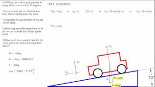 acceleration of a car on an inclined plane